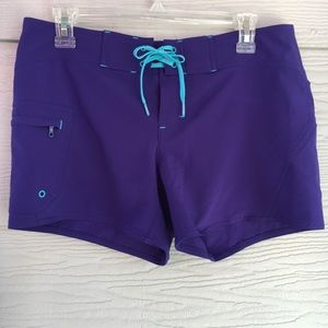 Athleta Clearwater Purple Lace Up Board Shorts